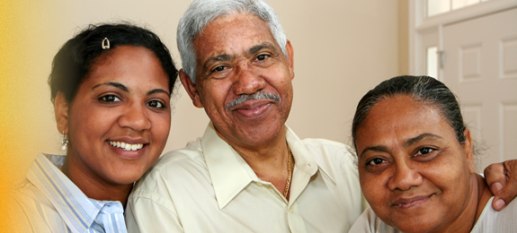 three people smiling
